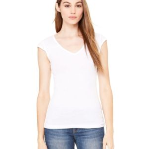 Women's Cap Sleeve Sheer Mini Rib V-neck Tee Thumbnail