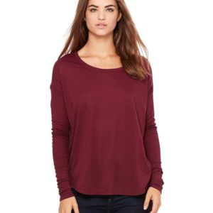 Women's Flowy Long Sleeve Tee with 2x1 Sleeves Thumbnail