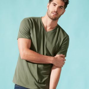 Premium Fitted Sueded V-Neck T-Shirt Thumbnail