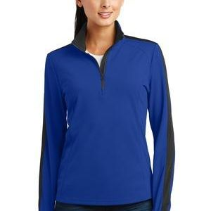 Ladies Sport Wick ® Textured Colorblock 1/4 Zip Pullover Thumbnail