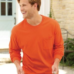 Tagless Long Sleeve T-Shirt with a Pocket Thumbnail