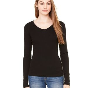Women's Long Sleeve Sheer Mini Rib V-Neck Tee Thumbnail